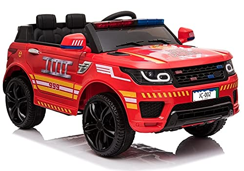 Coche infantil de bomberos JC002, color rojo