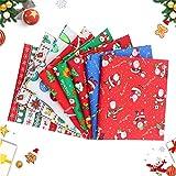 8 Pcs Baumwollstoff Weihnachten Stoffpakete,Weihnachten