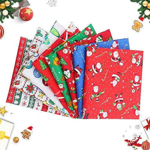 Natale Tessuto Cotone Stoffa, Tessuto Natale, Natale Stoffa Patchwork, Tessuti Natalizi, Tessuto a Tema Natalizio, Tessuto di Cotone di Natale, Natale Cucito Crafting (B)