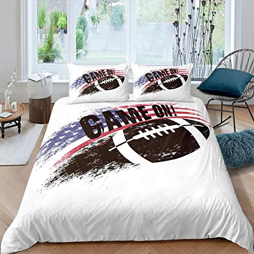 Bcooseso Bedding Sets Comfortable and Soft Bedding Set Modern minimalist football sports quilt American flag theme white Bedding Cover Sets 100% Polyester Anti-allergy Anti-fading HD Printing for Eve