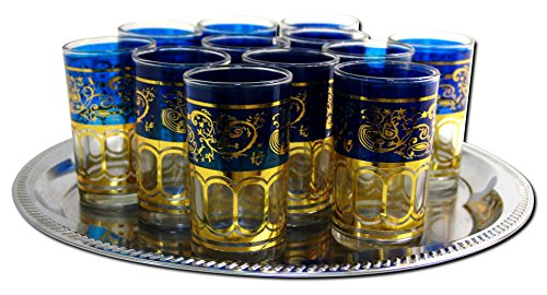 12x Teegläser Marokko orientalische Teegläser blau gold