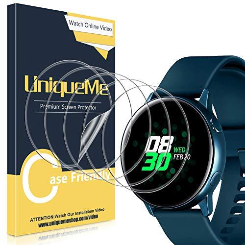 [5 Stück] UniqueMe Schutzfolie für Samsung Galaxy Watch Active/Samsung Galaxy Watch Active 2 40mm Bildschirmschutz, Blasenfrei, TPU flexibel [Blasenfreie] Bildschirmschutzfolie