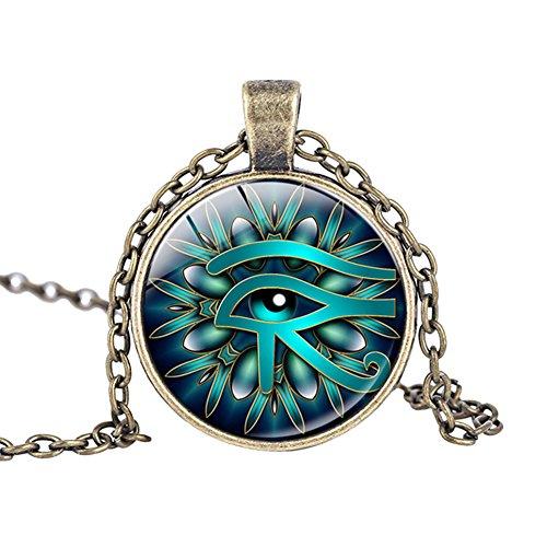 Fengteng Glas Stein Halskette Auge des Horus Anhänger antikes Ägypten Amulett Horus Auge Halsschmuck Symbol für Schutz vor negativen Energien Damen Herren Geschenk (2)