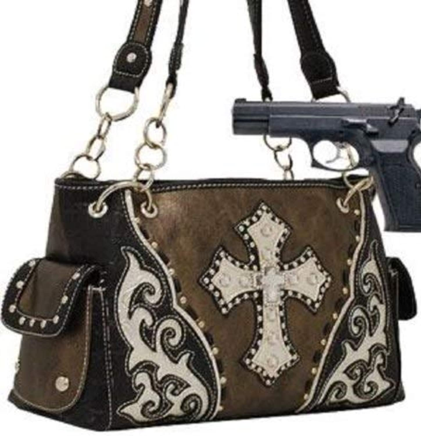 HBM Pewter Studded Cross Conceal and Carry Purse