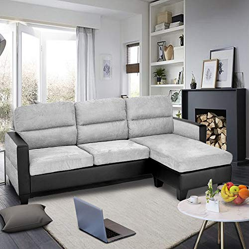 Modern 3 Seater Sofa Faux Leather and Fabric Corner Sofa L Shaped Morden Sofa Couch Settee Left & Right Hand Side Sofa with Footstool (Grey + Grey and Black Armrest)