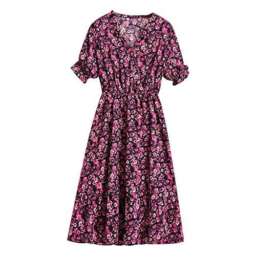 Xmiral Damen Kleid Blumen Chiffon Kurzarm Print Casual Elastic Waist Party Boho Maxikleider(c-Rosa,XL)