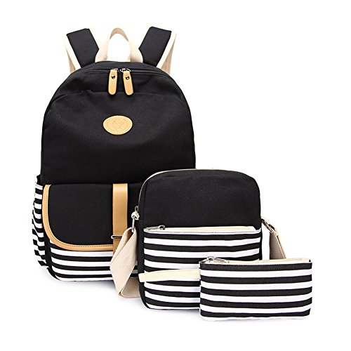 Abshoo Causal Travel Canvas Rucksack Backpacks for Girls School Bookbags Set (Black Set)