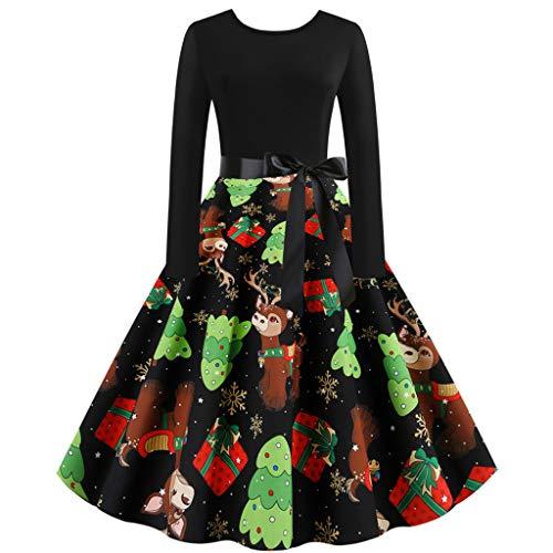 ReooLy Vintage-Langarm-Weihnachtsdruck-Kleid-Bogen-Gurt 1950 Housewife Partei-Abschlussball-Kleid-Frauen(A-Grün,Medium)