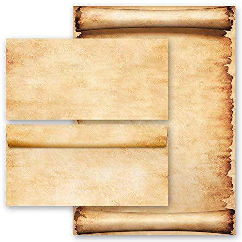 20 pezzi Set completo Antico & Storia, PERGAMENA 10 fogli di carta da lettera e 10 buste DIN LANG (senza finestra) | Paper-Media