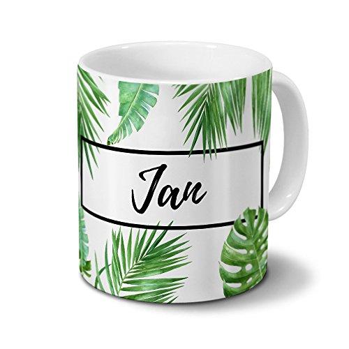 printplanet Tasse mit Namen Jan - Motiv Dschungel Floral Leaf - Namenstasse, Kaffeebecher, Mug, Becher, Kaffeetasse - Farbe Weiß