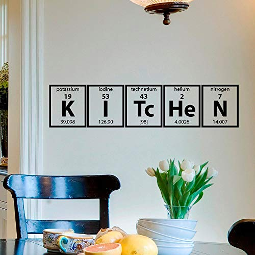 XCSJX Kitchen Wall Sticker Periodic Table Element Wall Decal Kitchen Cooking Vinyl Lettering Wall Poster Home Home Decoration 91x20cm Customizable