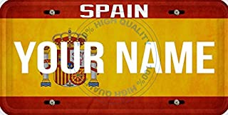 BleuReign Personalized Custom Name License Spain Flag Car Vehicle License Plate Auto Tag