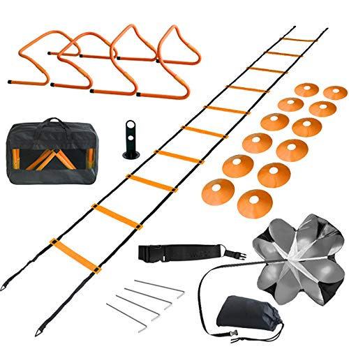 TOCO FREIDO Speed&Agility Ladder Training Set – 20ft Agility Ladder Set with 12 Rungs, 4 Adjustable Training Hurdle, 12 Disc Cones, 2 Resistance Bands, 1 Running Parachute and Footwork Drills