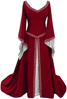 Clearance Medieval Dress,Forthery Renaissance Irish Dress for Women Plus Size Long Dresses Lace up Costumes Retro Gown