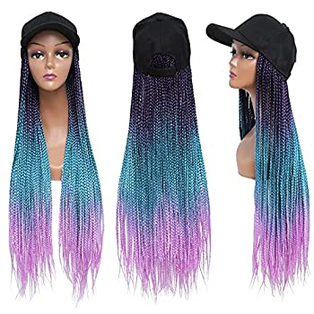 Long Braiding Hair Baseball Cap Hat Wig Hair with Braided Box Braids for Women Hat with Hair Extensions for Black White Women Ombre Rainbow Synthetic Crochet Hair Braids Hat Wig with Hair Attached Hip Hop Punk Style 90s Party  24Inch