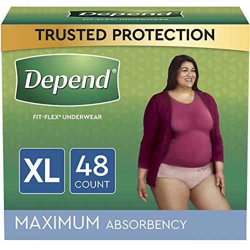 Depend FIT-FLEX Incontinence Underwear For Women, Disposable, Maximum Absorbency, Extra-Large, Blush, 48 Count (2 Packs of 24) (Packaging May Vary)