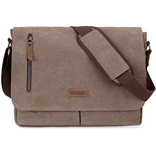 Messenger Bag for Men and Women, Canvas 14 Inch Laptop Messenger Bag Shoulder Bag for Work School VONXURY