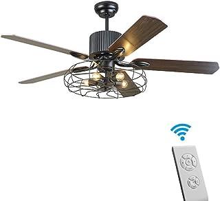 Ceiling Fan Ventilador De Techo con Luz De Jaula Industrial, con Control Remoto Y Aspa De Madera, Motor Reversible, 52 Pulgadas, E27