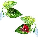 2 piezas Betta Camas Bed Hojas Hamaca para Betta Pez YUTOU Planta Artificial Hojas Betta Acuario Decoración con Ventosa Plantas Agua Plantas Decoraciones Simulación Natural