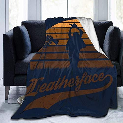 Texas Kettensäge Massaker Ledergesicht Sonnenuntergang Fleece Flanell Decke Decke Leichte Ultra-weiche warme Bettdecke Fit Sofa Geeignet