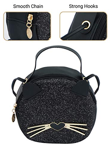 VISMIINTREND Vegan Leather Round Sling Crossbody bags for Girls and women with removable straps- Black Cat