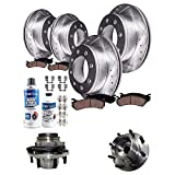 Detroit Axle - SRW 4WD Front 331mm Rear Drilled Slotted Disc Brake Rotor Pad Kit + Front Wheel Bearing Hub Replacement for Ford F-250 F-350 Super Duty Excursion (Course Thread) - 12pc Set