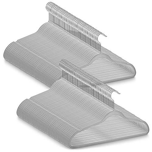 Casafield 100 Gray Velvet Suit Hangers - Space Saving Non-Slip Chrome Swivel Hook for Dress Clothes Coats Pants Shirts Skirts