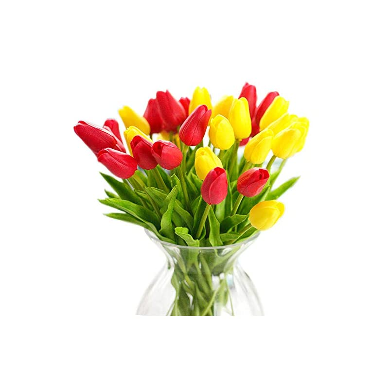 silk flower arrangements joejisn 30pcs artificial tulips flowers real touch multicolored tulips fake holland pu tulip bouquet latex flowers for wedding party office home kitchen decoration (15pcs yellow and 15pcs red)