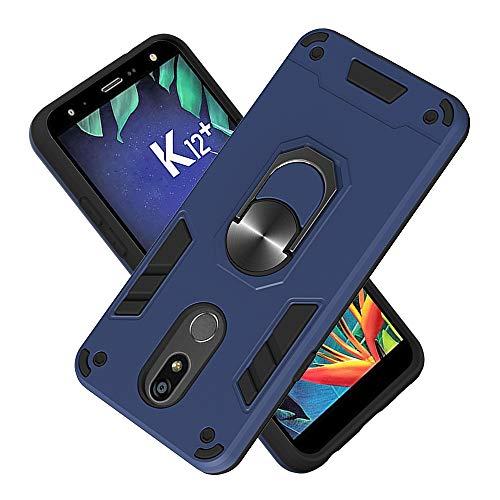FAWUMAN Armure Coque LG K40, Boîtier PC + TPU Double Layer Housse résistant aux Chocs avec Support à Anneau Rotatif à 360 degrés (Bleu Royal)