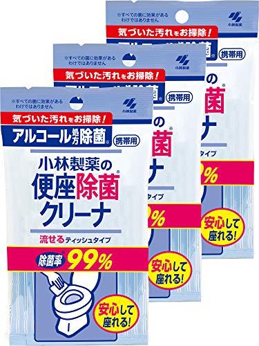 【まとめ買い】小林製薬の便座除菌クリーナ 携帯用流せるシート アルコール除菌 トイレ掃除に 10枚×3個