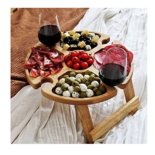 Weinpicknicktisch im Freien - Klappbarer tragbarer Kleiner Strandtisch - Perfektes Picknickzubehör - Mini-Picknicktisch Tragbarer massiver Picknick-Weintisch aus massivem Holz mit einziehbaren Beinen