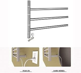 Stainless Steel Wall Mounted Electric Towel Warmer, 3-Bar Swing Out Towel Bar Heated Towel Drying Rack Bathroom Folding Arm Swivel Hanger