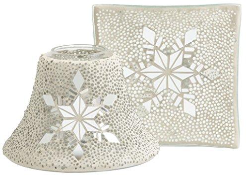 Offizielles Yankee Candle Twinkling Snowflake großes, festliches Glas, Lampenschirm- & Tablett-Dekorationsset – Kerze nicht im Lieferumfang enthalten.
