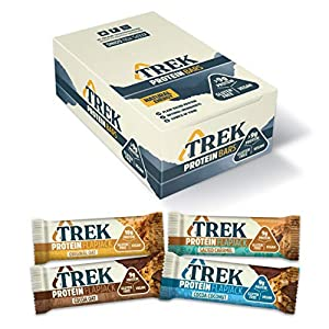 Trek Protein Flapjack Mixed Case - Natural Plant Protein - Gluten Free - Healthy Snack Bars, 50 g (Pack of 16), 99TRKMIX1