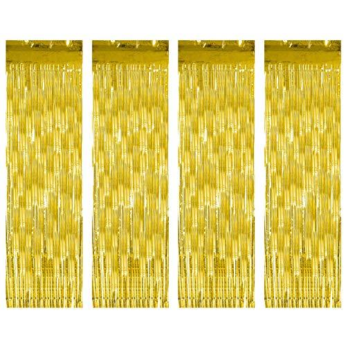 Gitua 4 Stück Lametta Vorhänge Gold, Glitzer Metallic Folie Fringe Vorhänge für Geburtstag Hochzeit Weihnachten Halloween Abschlussfeier Party Deko (1x2.5m)