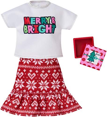 Barbie Mattel GGG52 – Holiday Fashion Merry & Bright, falda con camiseta...