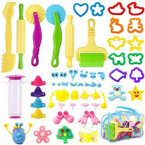 BAKHK 48 Teilige Plastilin Werkzeuge Knetwerkzeug Teig Spielwerkzeug Set Knete Zubehör Spielzeug und Andere Werkzeuge für Kinder