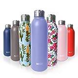 ANSIO Botella de Agua, Frasco de vacío y Botella de Agua de Acero Inoxidable Botella de Bebidas con Aislamiento Doble Pared Botella de Agua Caliente y fría sin BPA al Aire Libre - 500ML -Lavanda