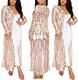 PROMLINK Sequin Duster Cardigans for Women Sparkly Kimono Blazer Jackets,XL