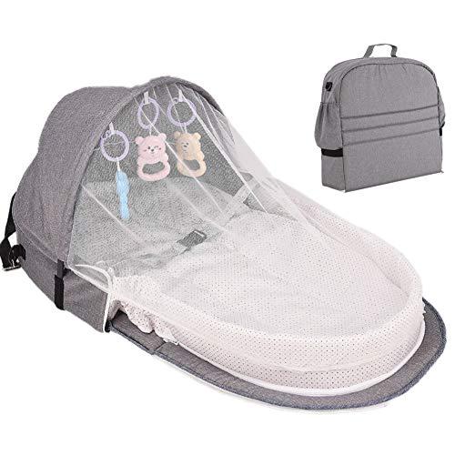 Qlans Tragbare Babybett Klappbare Wiege, Reisebett Kinderbett Moskitonetz Schlafkorb mit Spielzeug