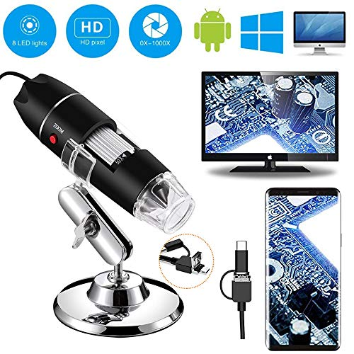 Schine USB Microscope,Iitrust 8 LED USB 2.0 Digital Microscope, 2MP Microscope Camera with Metal Stand, Compatible with Windows PC, Mac PC and Tablet,50 to 1000xMagnification Endoscope