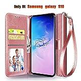 Samsung Galaxy S10 Wallet Case, [Wrist Strap]...