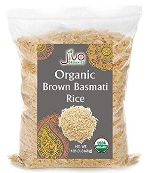 Jiva Organic Brown Basmati Rice 4 Pound Bag - Premium Quality from India