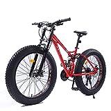 DJYD 26-Zoll-Frauen Mountainbikes, Doppelscheibenbremse Fat Tire Mountain Trail Bike, Hardtail Mountainbike, Verstellbarer Sitz Fahrrad, High-Carbon Stahlrahmen, Rot, 21 Geschwindigkeit FDWFN
