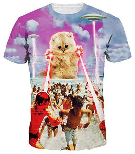 Ocean Plus Homme Multicolore T-Shirt de Sport Amusement Imprimé Animal Col Rond Manches Courtes Femme Tee Shirt Unisexe Hauts (XXL/175-180, Chat Laser)