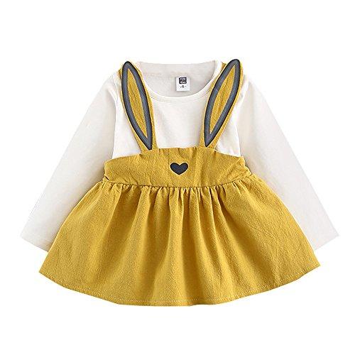 YWLINK Herbst Lange ÄRmel SüßEs MäDchen Kaninchen Verbandanzug Mini Kleiden Baby Kinder Kleinkind Hochzeit Freizeit Overall Kleid 0-3 Jahre Alt(Gelb,100)