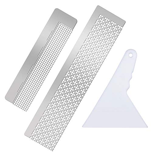 2 Pieces Diamond Painting Ruler and 1 Diamond Painting Fix Tools, DIY Drawing Stainless Steel Ruler with 699 Blank Grids and 400 Blank Grids for Round Drill for Diamond Painting Accessories
