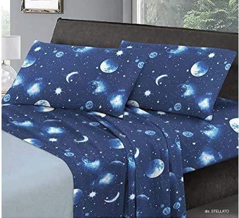 Smartsupershop Parure de lit une place et demie – Étoile – en coton Made in Italy MG