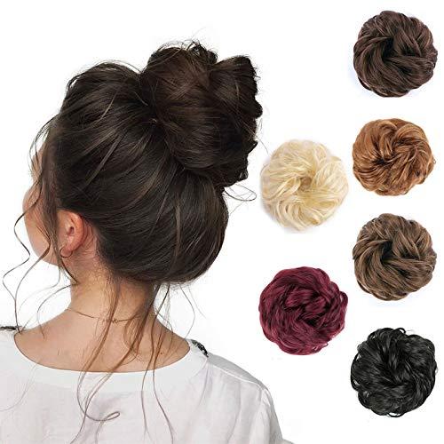 Messy Bun Hair Piece 100% Human Hair Bun Updo Hair Scrunchies Extension with Elastic Rubber Band Hair Accessories Curly Wavy Messy Chignon for Women Hair Chignon Piece Dark Brown