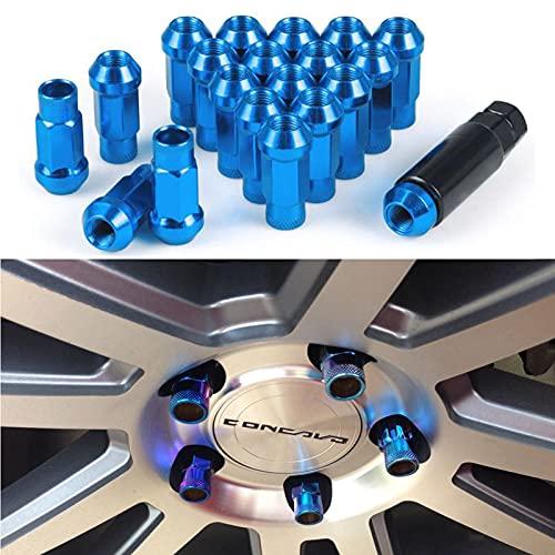 20Pcs M12x1,5 Radmutter Lug Aluminiumlegierung Stahl Racing Rad Radmuttern mit Schlüssel Universal für Autoreifenschraube